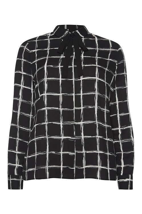 Black Scribble Check Tie Neck Blouse by Atmosphere