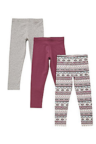 F&F 3 Pack of Nordic Print and Plain Leggings with As New Technology
