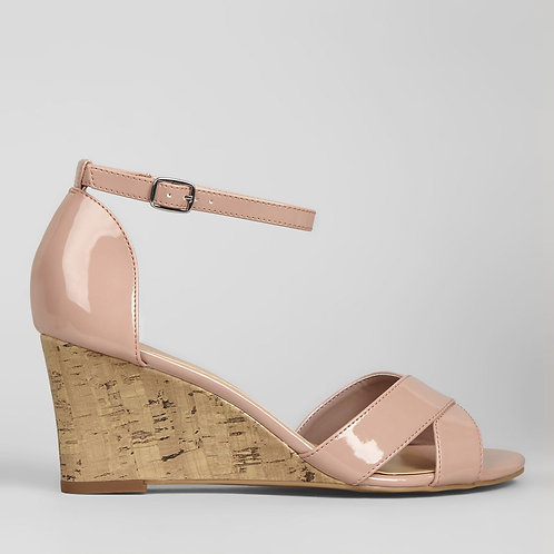 Pink Patent Cork Wedge Heels by New Look
