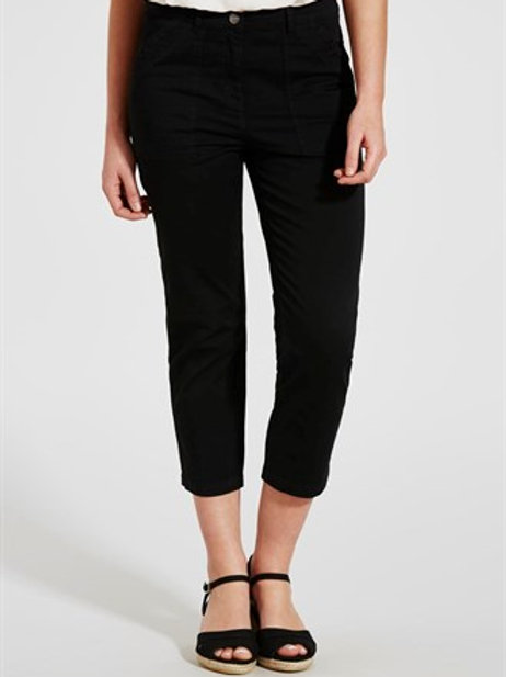 Casual Cropped Trousers - Black
