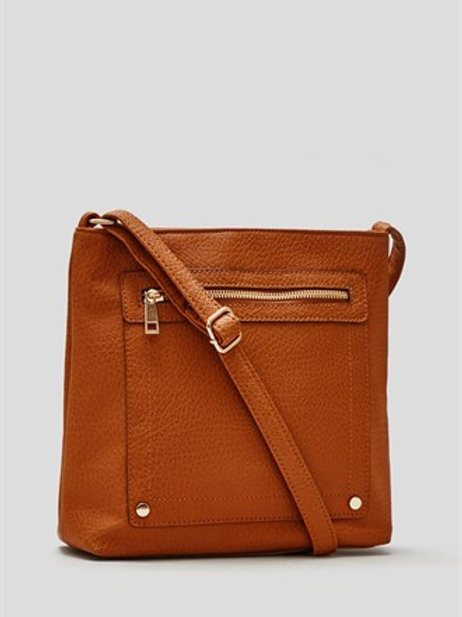 Tan Zip Front Across Body Bag