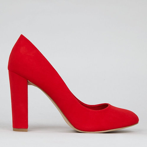 Wide Fit Red Suedette Block Heels by New Look