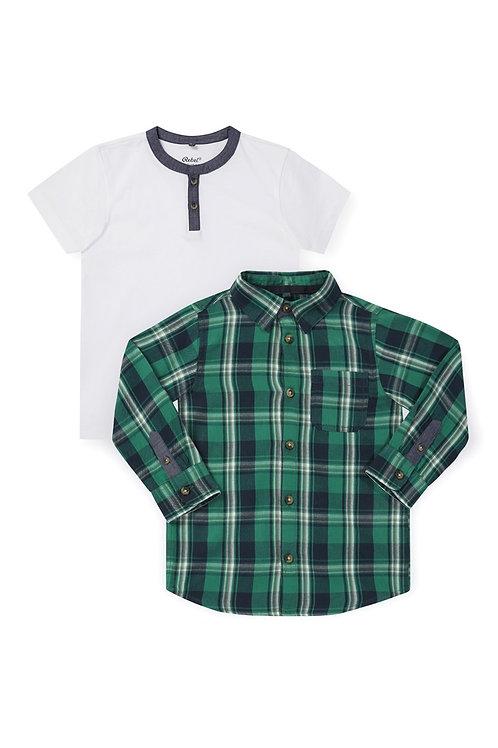 Rebel - Long Sleeve Green Check Shirt Set