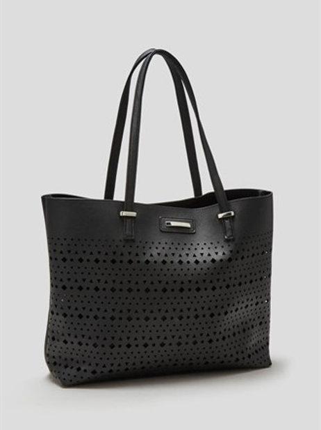 Laser Cut Detail Tote Bag - Black