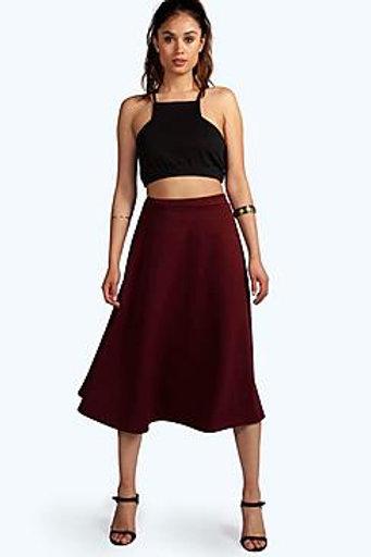 Plain Full Circle Midi Skirt - Berry