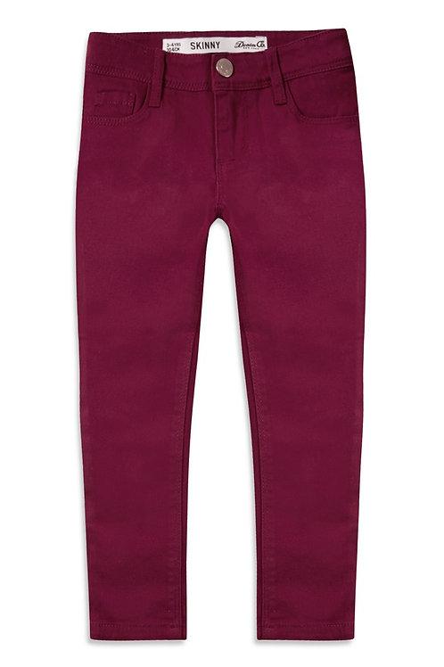Burgundy Twill Skinny Jeans