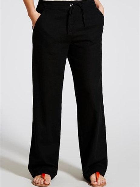 Linen Wide Leg Trousers - Black