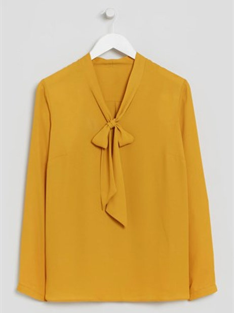 Yellow Pussy Bow Blouse