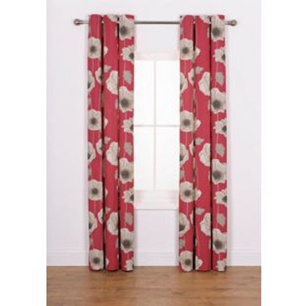 Elissia Poppy Unlined Curtains - 117 x 137cm - Red