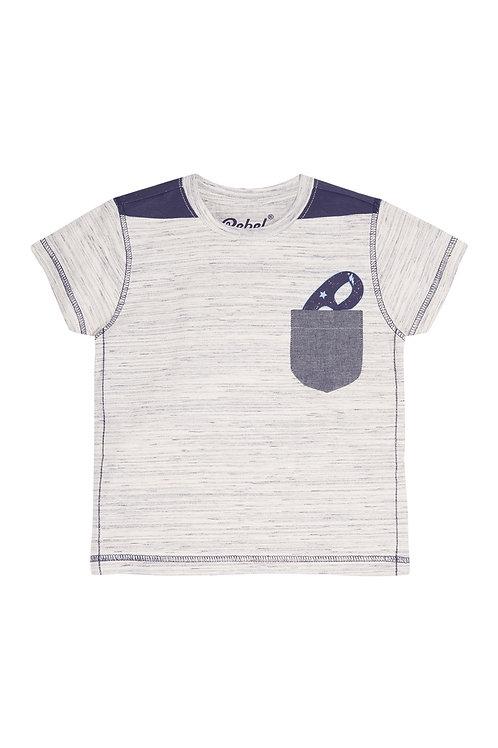 Grey Novelty Pocket Mask T-Shirt by Rebel