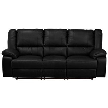 New Bruno Leather Effect Recliner Sofa - Black