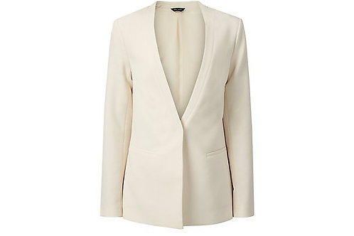 Cream Crepe Longline Blazer by New Look