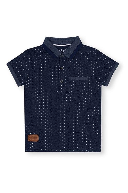 Rebel- Navy Denim Spot Polo T-Shirt