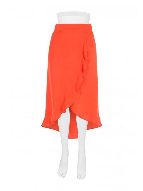 Womens Red Ruffle Midi Skirt by Peacocks - Red