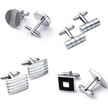 4 pairs Men's Stainless Steel Classic Silver Tone Cufflinks