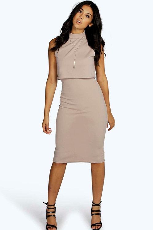 High Neck Double Layer Midi Dress - Mauve