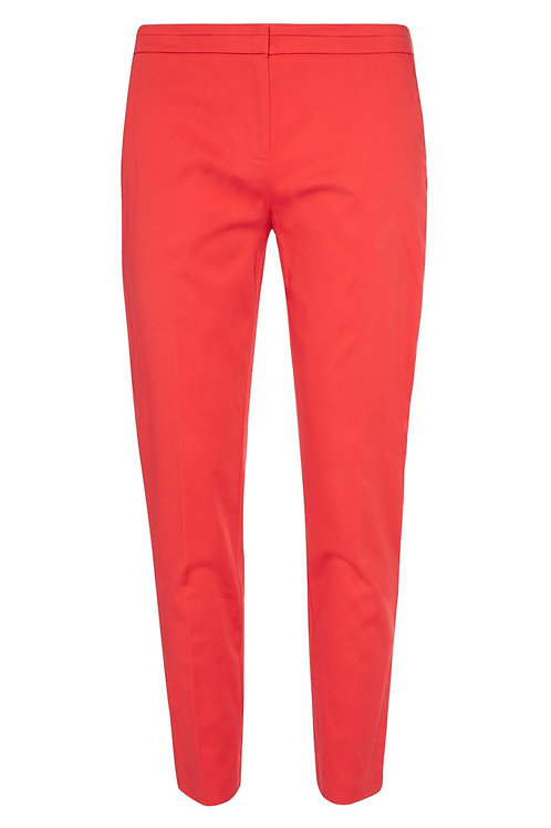 Red Slim Fit Crop Trousers