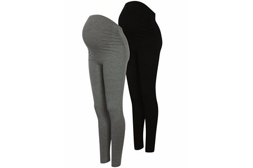 Maternity 2 Pack Over Bump Leggings by George - Grey & Black