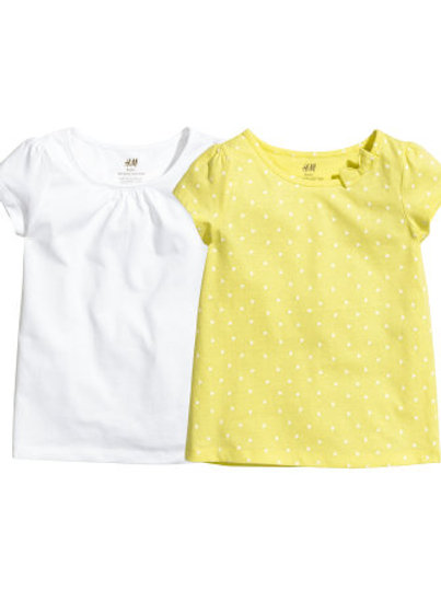 H&M - Yellow Heart 2-pack tops (2-10yrs)