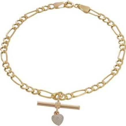 Ladies 9ct Gold Figaro Heart T-Bar Bracelet