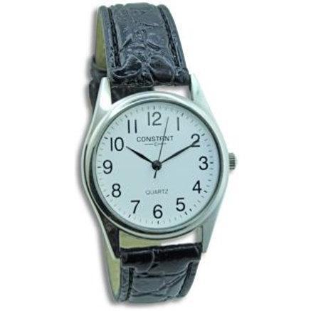 Constant Ladies' White Dial Black Strap Watch