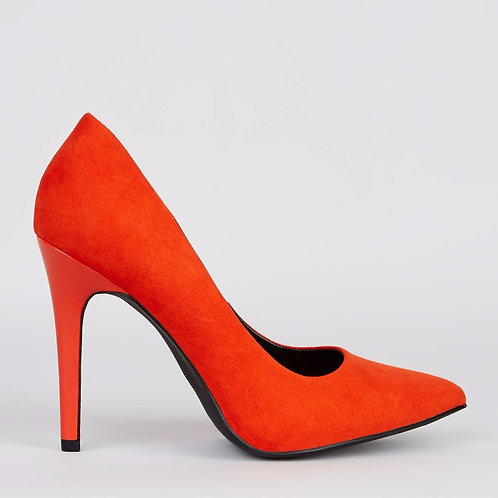 Wide Fit Orange Suedette Pointed Court Shoes by New Look