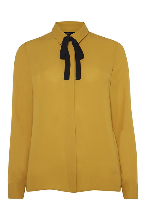 Mustard Tie Neck Blouse by Atmosphere