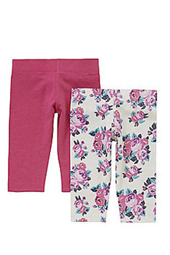 F&F 2 Pack of Rose Print and Plain Leggings with As New Technology