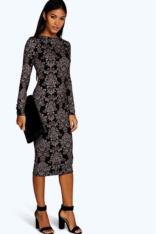 Fiona Printed Midi Dress - Black