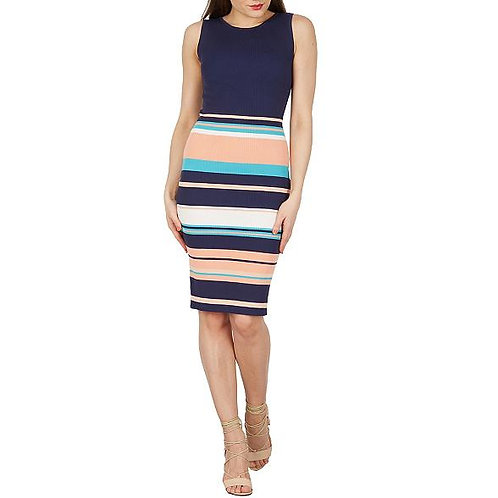 Apricot - Navy half stripe knitted dress