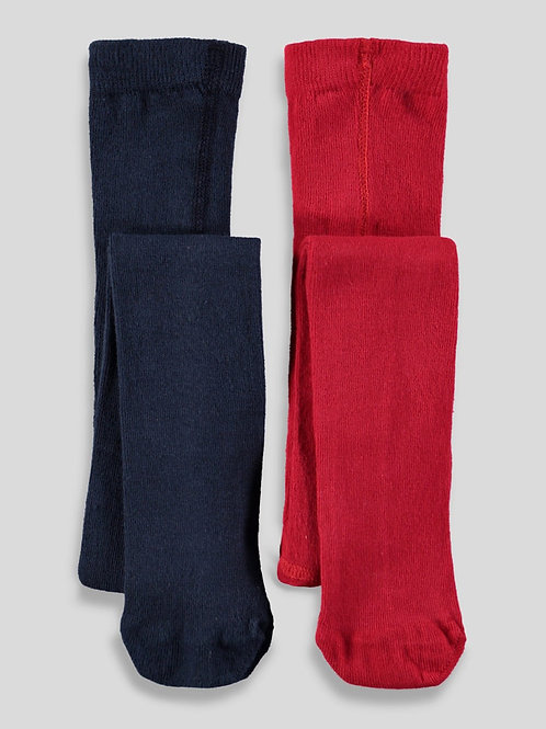 Red and Blue Girls 2 Pack Tights