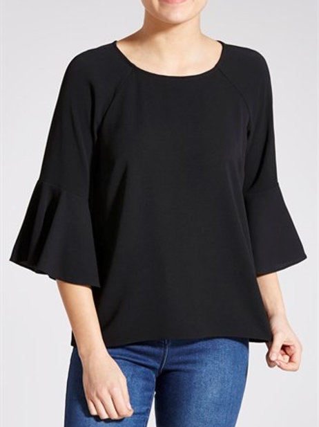 Fluted Sleeve Blouse - Black