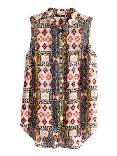 Sleeveless chiffon blouse - white pattern by H & M