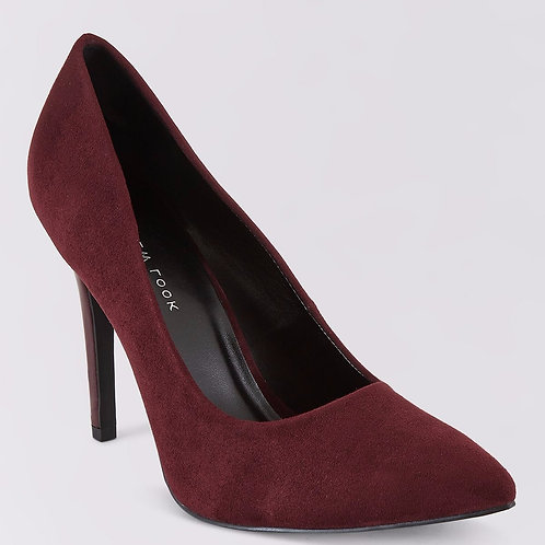 Wide Fit Purple Suedette Pointed Court Shoes by New Look