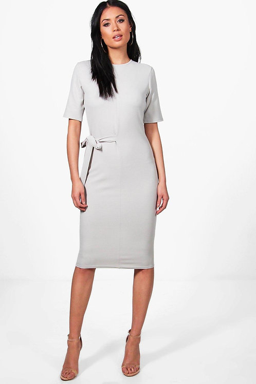 Karina Tie Waist Midi Dress - Grey