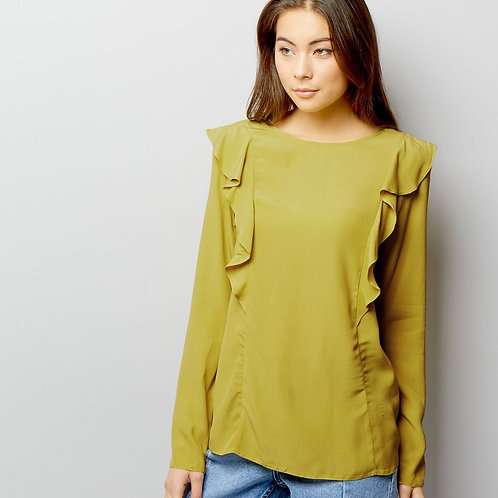 Lime Green Frill Trim Long Sleeve Top by New Look