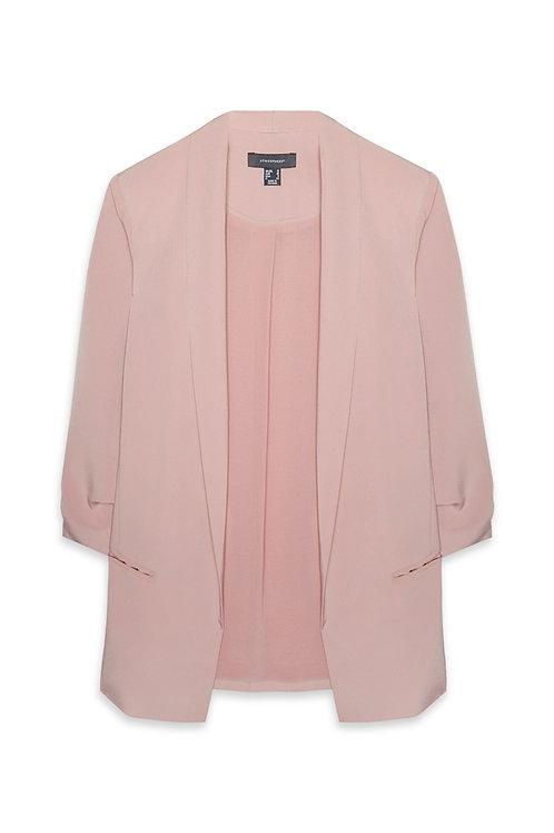 Pink Rouche Sleeve Blazer