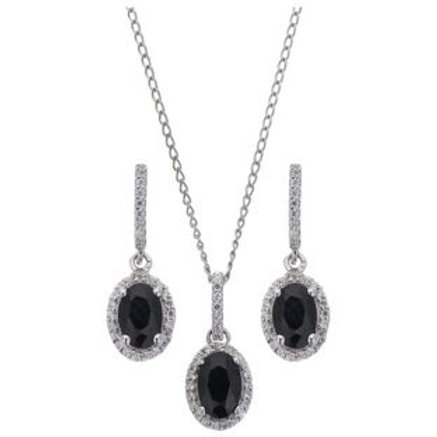 Sterling Silver Blue Sapphire Earring and Pendant