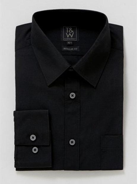 T&W Regular Fit Long Sleeve Shirt black