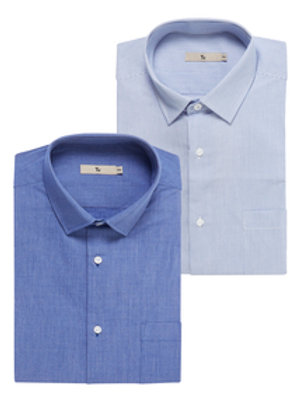 Blue Easy Iron Shirts 2 Pack