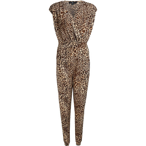 Brown Leopard Wrap Jumpsuit by Little Mistress