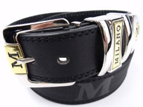 Milano leather belt with silver buckle