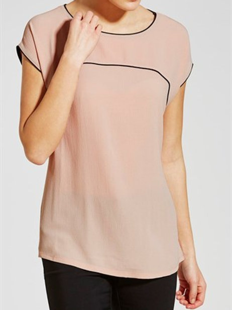 Piped Trim Top - Pink