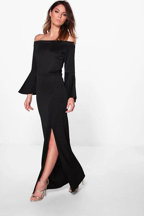 Ava Flute Sleeve Off The Shoulder Maxi Dress - Black