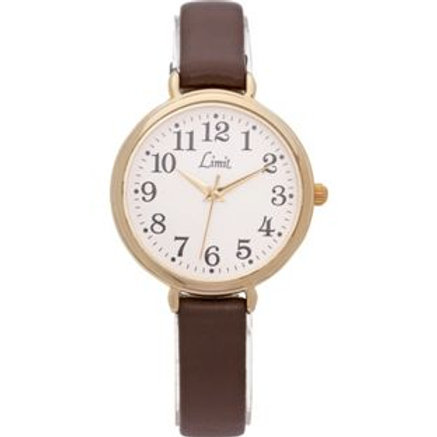 Limit Ladies' Round Oversized Brown Strap Watch.