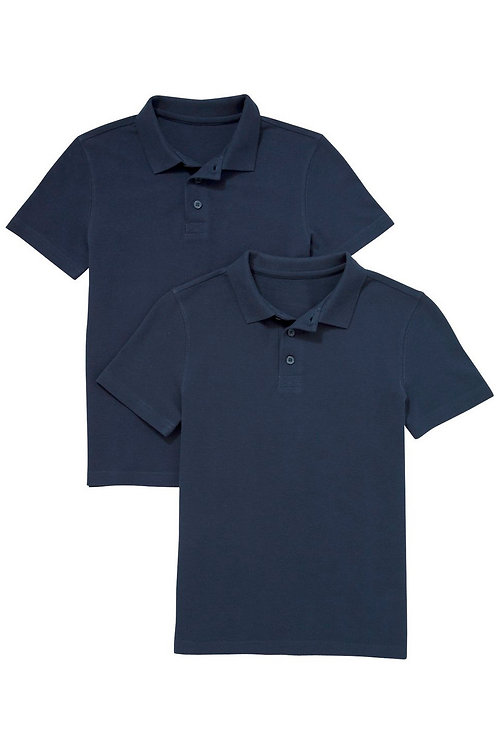 2 Pack of Unisex Polo T-Shirts in Navy