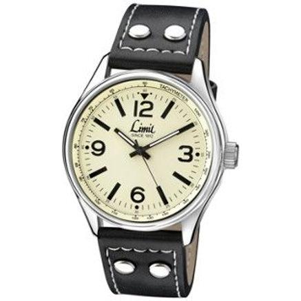 Limit Men's Pilot Style Cream Dial Black Strap Watch.