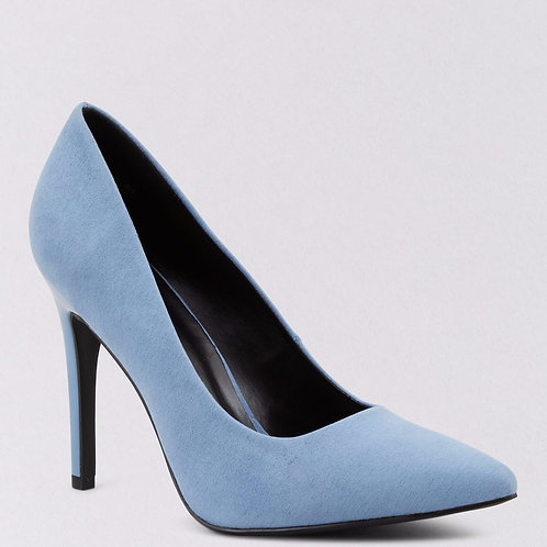 Wide Fit Blue Suedette Pointed Court Shoes by New Look