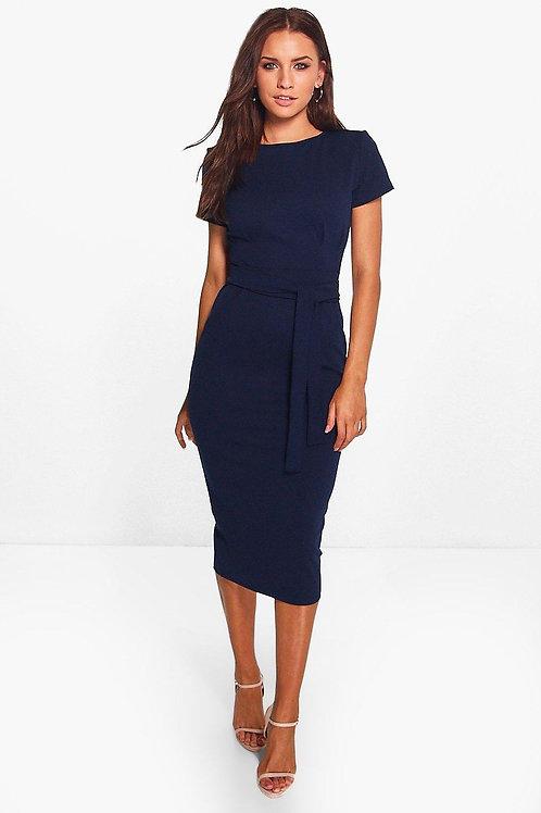 Eva Pleat Front Belted Tailored Midi Dress - Navy