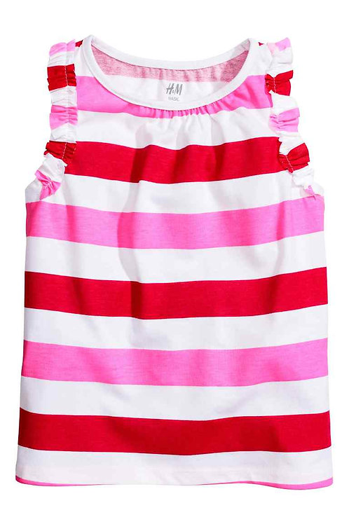 H&M Pink striped Top with frills